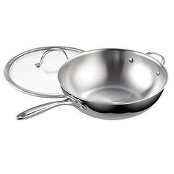 Cooks Standard 02595 Clad Stainless Steel Stir Fry Pan with