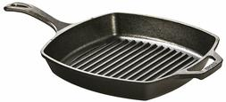 Lodge 10.5 Inch Square Cast Iron Grill Pan for Grilling Baco