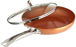 Copper Chef 10 Inch Round Frying Pan With Lid - Skillet With