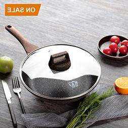 KI 8-7/10 Inche Marble&Ceramic Frying Pan with Tempered Glas