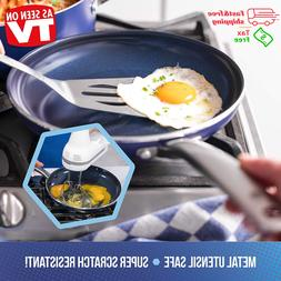 "10"" Blue Diamond Pan Toxin Free Ceramic Open Safe Frypan Non"