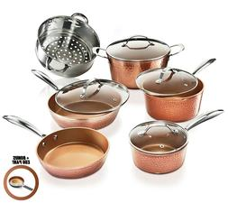 Gotham Steel 10 Piece Hammered Nonstick Copper Cookware Set