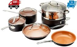 10 Piece Home Kitchen Cookware Non-Stick Ti-Cerama Skillets
