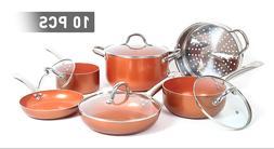 Shineuri 10-Piece Kitchen Nonstick Frying Pan & Cookware Set