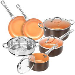 10-Piece Nonstick Frying Pan and Cookware Set – COPPER! Bl