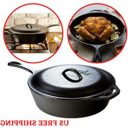 """12"""" Pre Seasoned Cast Iron Frying Pan Fry Pan Skillet with H"""