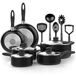 15 Piece Nonstick Cookware Set 2 Saucepans 2 Fry Pan Dutch O