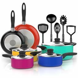 Vremi 15 Piece Nonstick Cookware Set - Colored Kitchen Pots