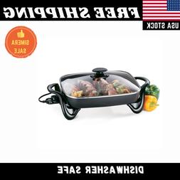 "16"" Electric Skillet Nonstick Frying Fry Pan Buffet Server W"