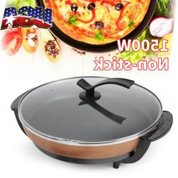 """16"""" Electric Skillet Nonstick Pizza Frying Pan Glass Lid 150"""