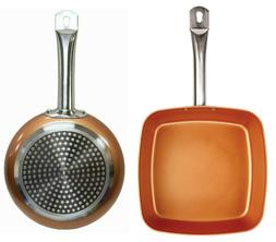 2 Copper Frying Pan Set Chef Ceramic Non Stick Coating Induc