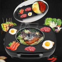 2 In 1 Electric Pan Hot Pot BBQ Frying Cook Grill Kitchen Ba
