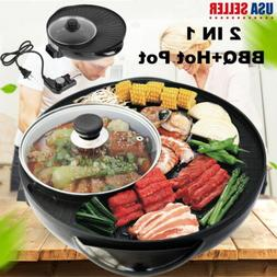 2 In 1 Non-stick Electric Pan Hot Pot W/ Glass Lid BBQ Fryin