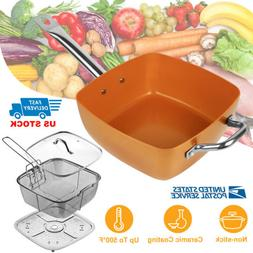 20 24 26 28cm Non-Stick Frying Pan Kitchen Square Circle Alu