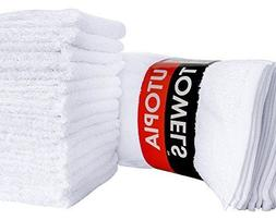 24 Pack Washcloths Cotton White 12x12 Inch Highly Absorbent
