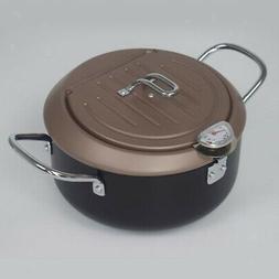 24cm Tempura Deep Fryer Pan Non-stick Round Frying Pot Drain