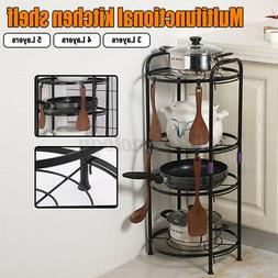 3/5 Tiers Saucepan Frying Pan Pot Storage Rack Shelf Stand K