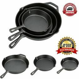 3 Cast Iron Skillet Pre Seasoned 8 10.5 12 Inch Stove Oven F