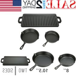 3 CAST IRON SKILLET Pre Seasoned 8 10.5 Inch Griddle Stove O