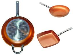 3 Copper Frying Pan Set Non Stick Fry Skillet Chef Nonstick