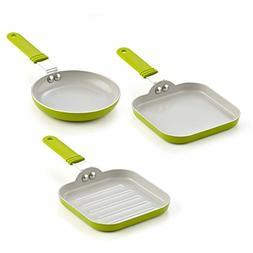 3 Pan Set Ceramic Nonstick Induction Frying Cooking Cookware