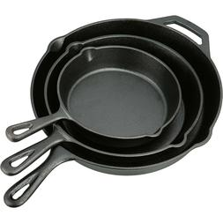 3 Piece Cast Iron Skillet Pan Set Cookware Pre Seasoned Stov