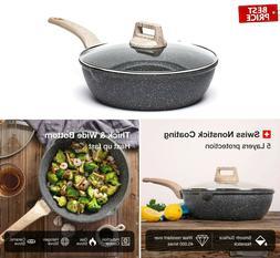 Carote 3 Quart Nonstick Saute Deep Frying Pan with Cover Gra