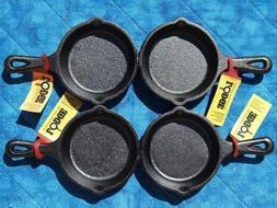 4 Lodge LMS3 3.5 inch Cast Iron Mini Skillet / Spoon Rest /