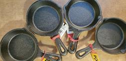 "4 pan set Lodge Cast Iron 3 1/2"" Inch Miniature Skillet Pres"