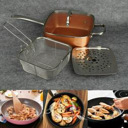 4 Piece/ Set Copper Square Frying Pan Induction For Chef Gla