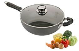 4001-28 Uniware Non Stick Frying Pan with Glass Lid,5.5 QT,
