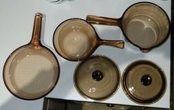 5-Pc. VTG CORNING PYREX VISIONS AMBER COOKWARE 1, 1/2 L SAUC