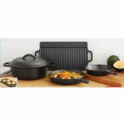 5 Piece Sturdy Cast Iron Cookware Set- Frying Pan, Double Gr