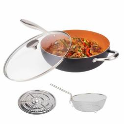 5 Quart Nonstick Woks and Stir Fry Pans With Lid, Frying Bas