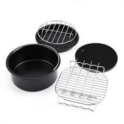 5Pcs Cook Frying Basket Pizza Pan Grill Rack Mat Bracket Air