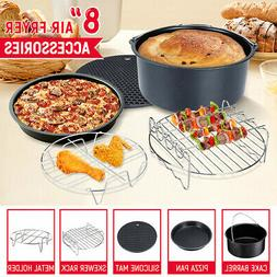 5x 8'' Air Fryer Frying Cake Cup Dish Baking Pan Rack Pizza