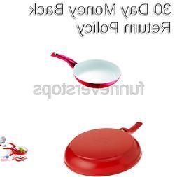 "NEW Bialetti 7194 Aeternum Red Ceramic Saute Pan 12"" Eco-Fri"