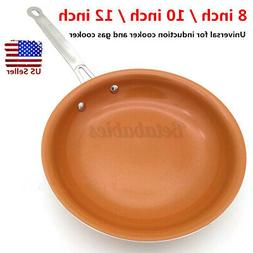 8/10/12'' Healthy Non Stick Copper Ceramic Frying Pan Coatin