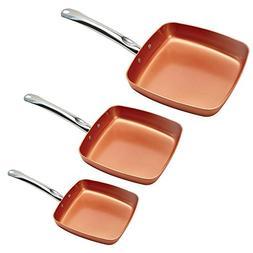 "Copper Chef 8/9.5/11"" Fry Pan Set"