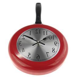 8'' Home Frying Pan Kitchen Novelty Decor Wall Clock Quartz