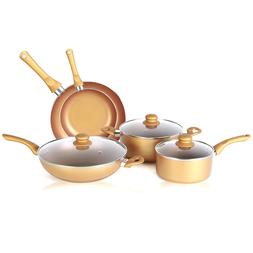 8 Piece Gold Color Non Stick Cookware Set - Frying pan, Sauc