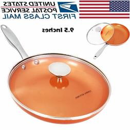 """9.5"""" Copper Nonstick Frying Pan w/ Glass Lid for Home Kitche"""