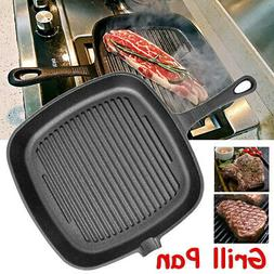 9.5 Inch Non-Stick Cast Iron Grill Frying Pan Griddle BBQ Ki