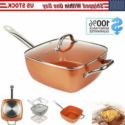 10 Inch Non Stick Deep Square Frying Pan Skillet w/ Lid Bask