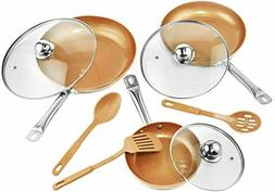 9 Pc Set Copper Frying Pan with Lids and Spoons -Non Stick C