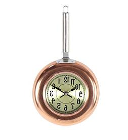 Deco 79 98434 Copper Frying Pan-Inspired Iron Wall Clock, Co