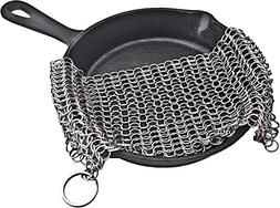 "Cast Iron Cleaner Chainmail Scrubber XL 7""x7"" Premium St"