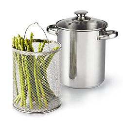Cook N Home 4 Quart 3-Piece Vegetable Asparagus Steamer Pot,