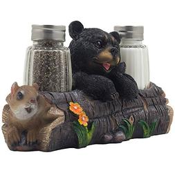 Decorative Black Bear and Squirrel Friend on Log Salt & Pepp