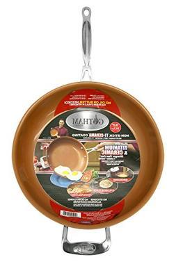 "Gotham Steel 9950 Non-Stick Titanium Frying Pan, 12.5"", Brow"
